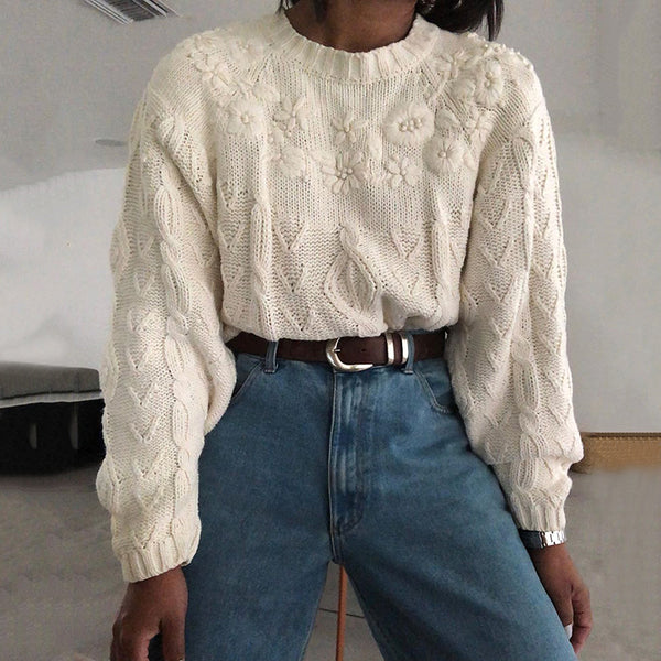 Casual Round Neck Brocade Sweater