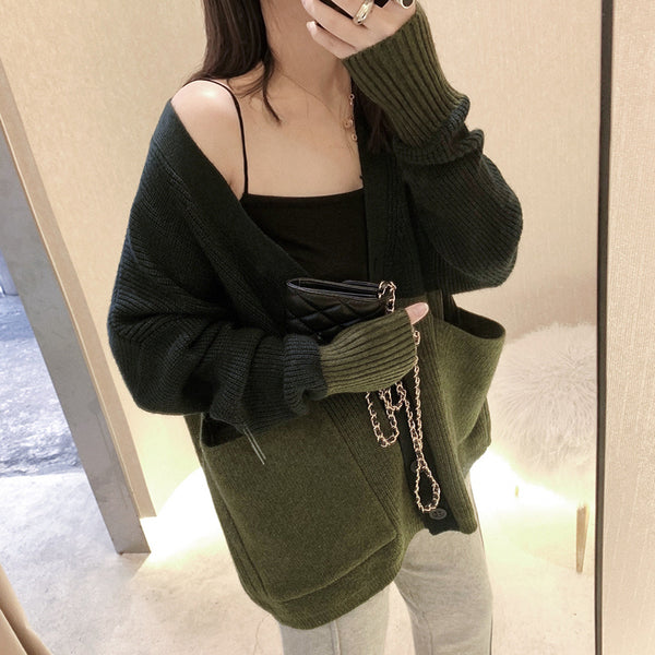 Women's Casual Deep V-Neck Long Sleeve Contrast Color Loose Sweater