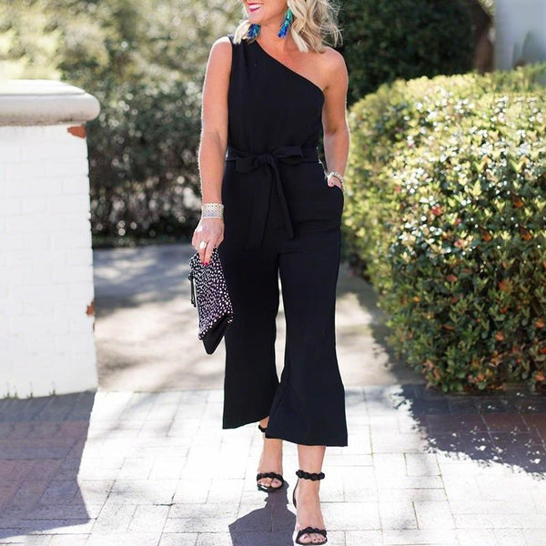 Fashion One-shoulder Tie With Solid Color Jumpsuit