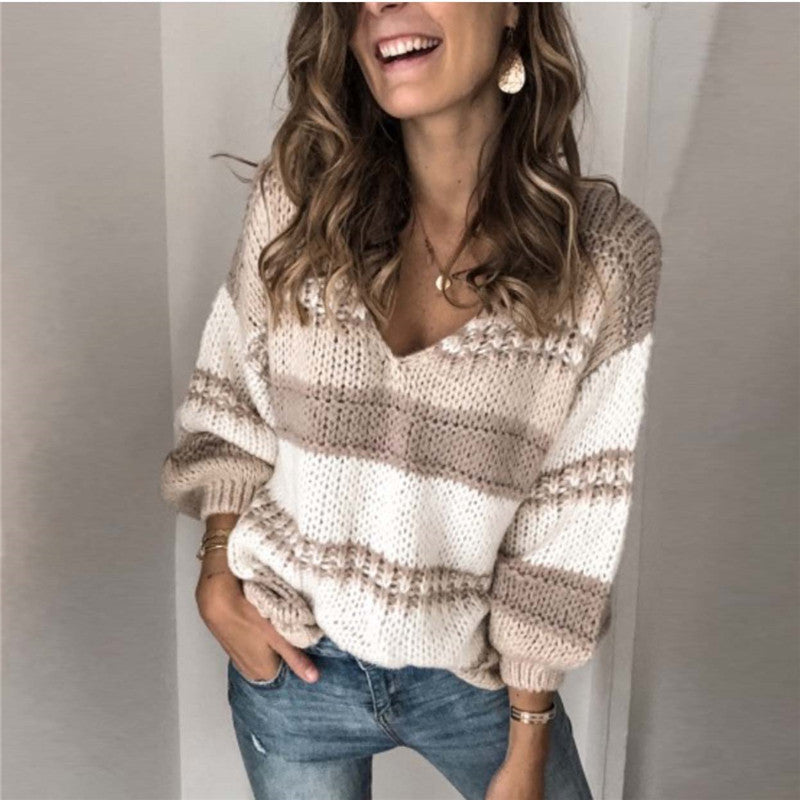 Loose v-neck colorblock knit top