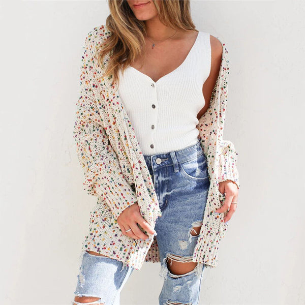 Color Dot Cardigan Long Sleeve Pocket Sweater