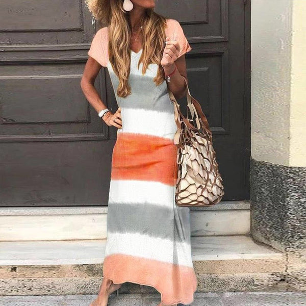 casual loose colouring striped short sleeves ankle-length dress