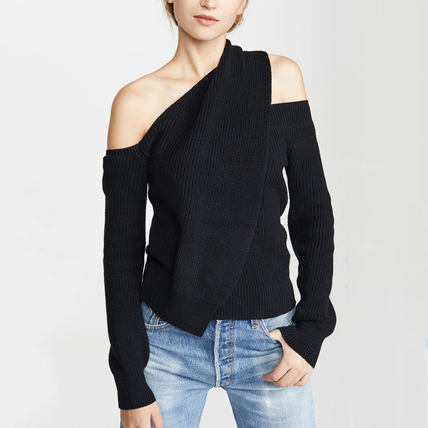Women's Casual Off-shoulder Long Sleeve Tight Sweater