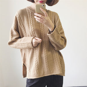 Elegant Solid Color Crew Neck Sweater