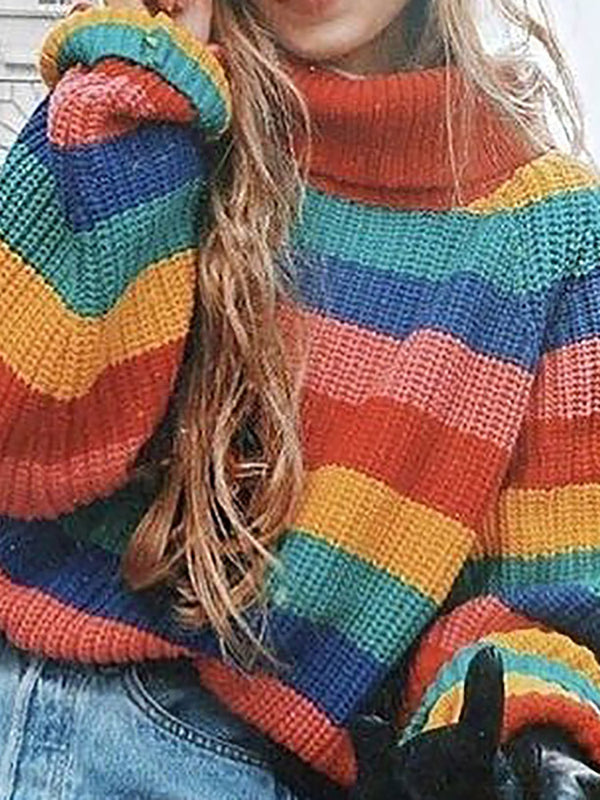 Classic High Neck Rainbow Striped Long Sleeve Sweater