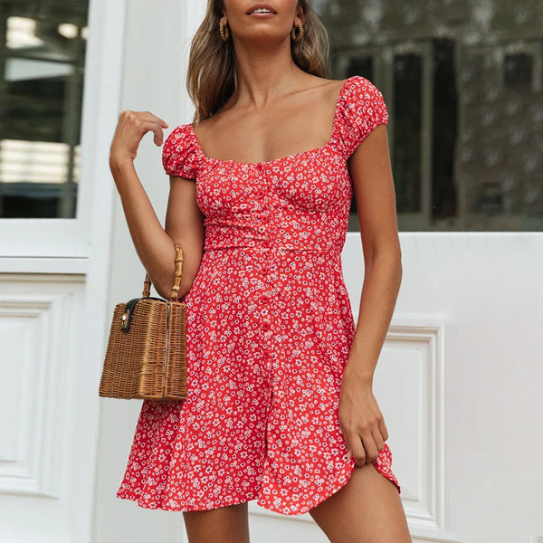Sweet Floral Print Short Sleeve Mini Dress