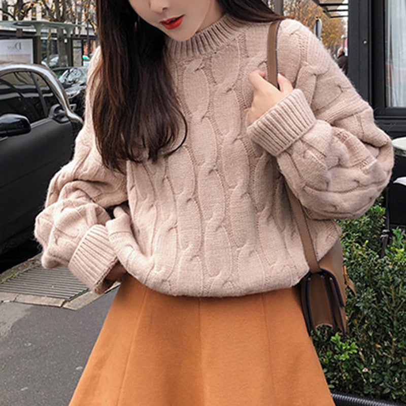 Casual Solid Color Twist Loose Knit Sweater