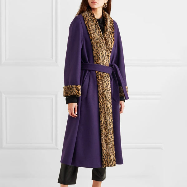 Temperament Purple Stitching Leopard Print Long Section Overcoat