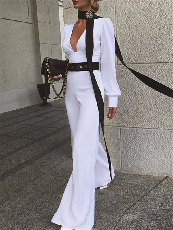 Fashion Sexy Plunging Neckline High Waist Long Sleeve Jumpsuit
