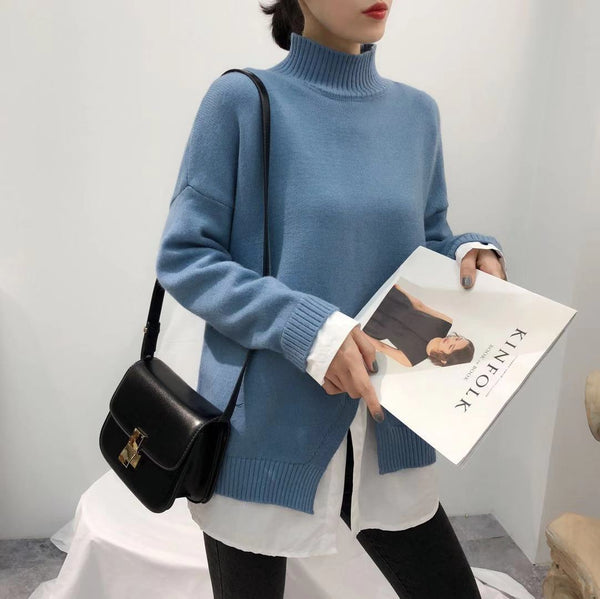 Women's Casual Pure Color Round Neck Long Sleeve Sweater