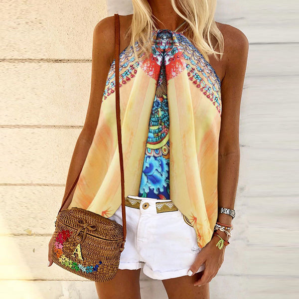 Sleeveless Top With Bohemian Print Neck Strap