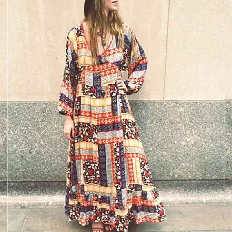 Casual Deep V-Neck Long Sleeve Printed Color Loose Maxi Dress