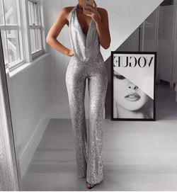 Women's Fashion Paillette V Neck Sleeveless Jumpsuit