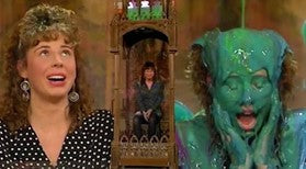 Three images of the same woman. 1 she is clean. 2 she is sat in a gunge tank, 3 she is covered in gunge