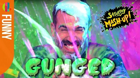 Promotional image from Saturday mashup. Man covered in slime.