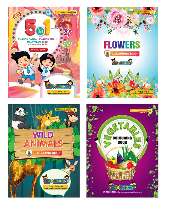 5 IN 1 (English Capital & Small , Malayalam ,Hindi ,1 To 50 Numbers Writing Book & Flowers , Wild Animals ,Vegetables Coloring Book For Kids (Combo Pack)