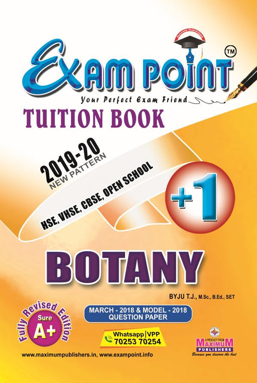 Exam Point Plus One Botany Tuition Book Maximum Publishers Kerala Syllabus ( HSE , VHSE ,OPEN SCHOOL ) Year 2019-2020