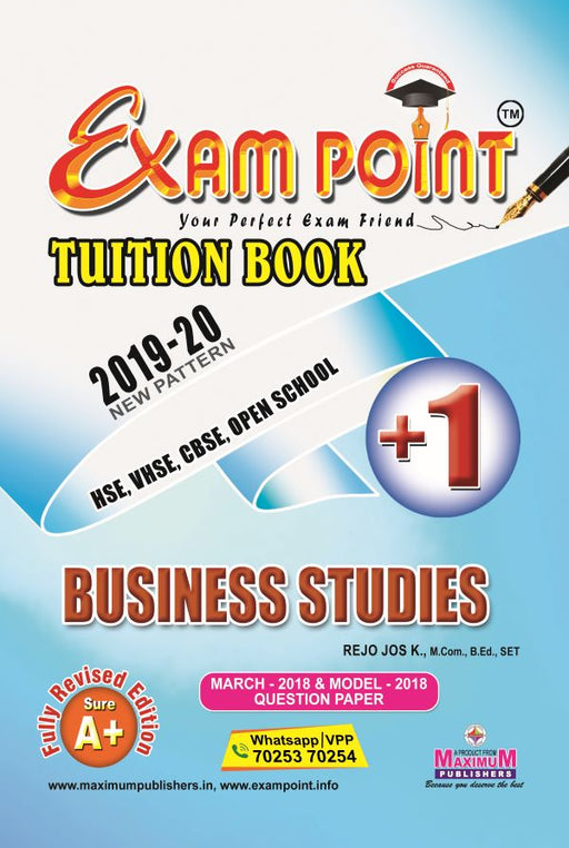 Exam Point Plus One Business Studies (English) Tuition Book Maximum Publishers Kerala Syllabus ( HSE , VHSE ,OPEN SCHOOL ) Year 2019-2020