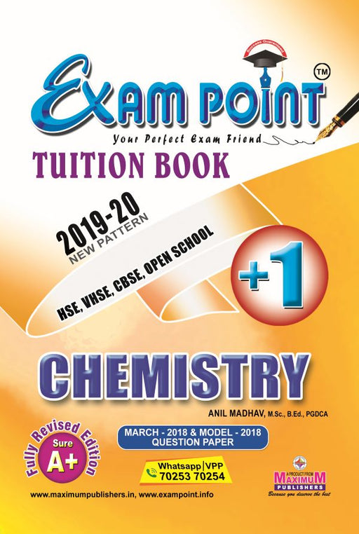 Exam Point Plus One ChemistryTuition Book Maximum Publishers Kerala Syllabus ( HSE , VHSE ,OPEN SCHOOL ) Year 2019-2020