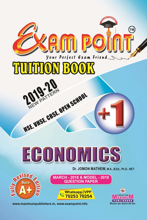 Exam Point Plus One Economics (English) Tuition Book Maximum Publishers Kerala Syllabus ( HSE , VHSE ,OPEN SCHOOL ) Year 2019-2020