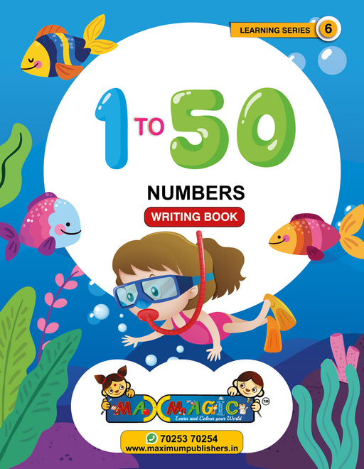 Learning  And Writing Book For Kids 1 to 50 Numbers MAX MAGIC Learning Series 6 (Pack of 4)