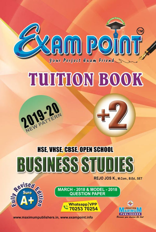 Exam Point Plus Two Business Studies (English) Tuition Book Maximum Publishers Kerala Syllabus ( HSE , VHSE ,OPEN SCHOOL ) Year 2019-2020