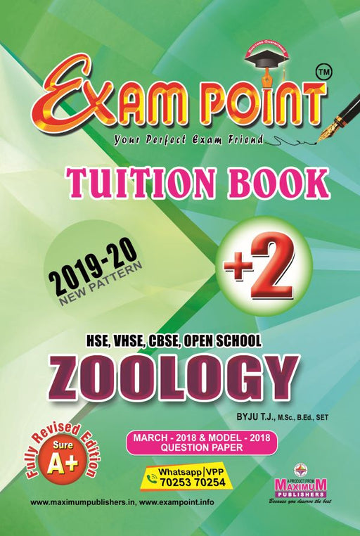 Exam Point Plus Two Zoology Tuition Book Maximum Publishers Kerala Syllabus ( HSE , VHSE ,OPEN SCHOOL ) Year 2019-2020