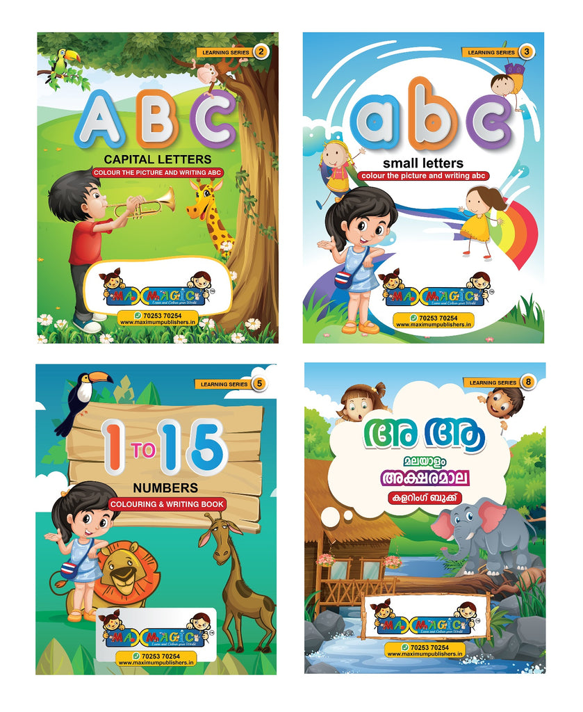 ABC Capital & Small Letters , 1 To 15 Numbers ,Malayalam Alphabets Writing  & Coloring Book For Kids (Combo Pack)