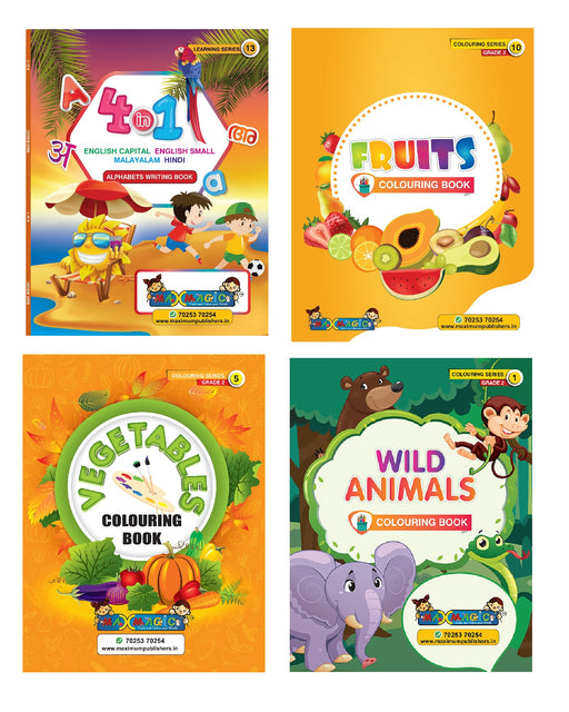 4 In 1 (English Capital & Small ,Malayalam ,Hindi Alphabets) Writing Book & Fruits ,Vegetables ,Wild Animals Coloring Book For Kids (Combo Pack)