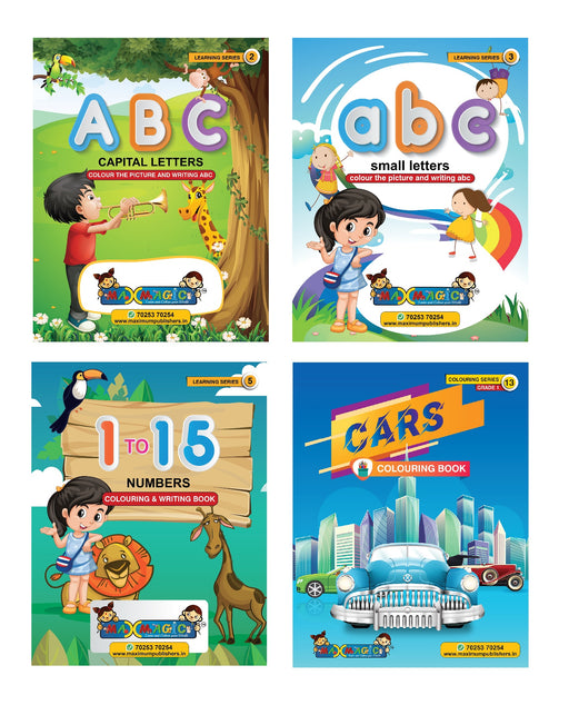 ABC Capital & Small Letters ,1 To 15 Numbers Writing & Cars Coloring Book (Combo Pack)