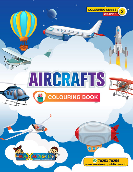 Air Crafts Colouring Book For Kids (with description)