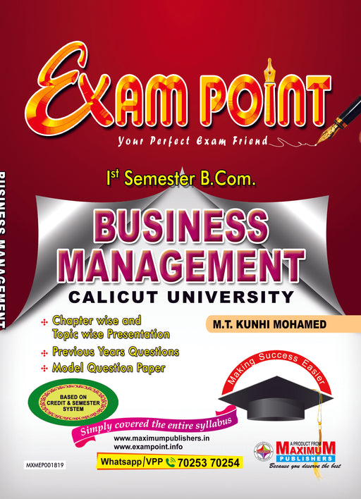 Exam Point First Semester Business Management  (Core Course) for Calicut University B.Com Students