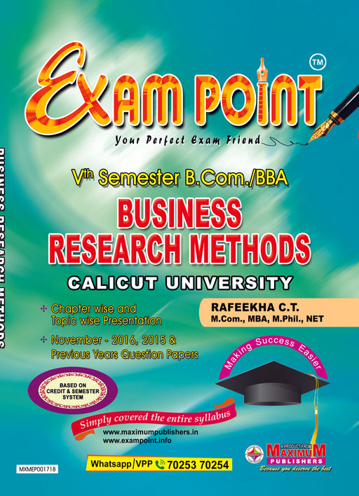 Exam Point Fifth Semester Business Research Methods For Calicut University B.Com/BBA  Students