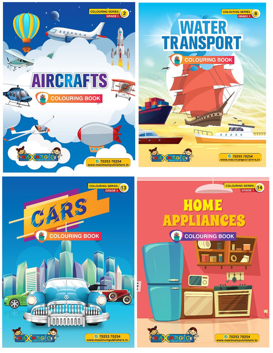 Coloring Book For Kids Air crafts ,Water Transport , Cars, Home Appliances (Combo Pack)