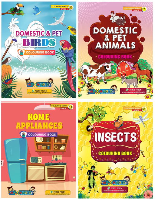 Coloring Book For Kids Domestic & Pet Birds ,Domestic & Pet Animals, Home Appliances , Insects (Combo Pack)