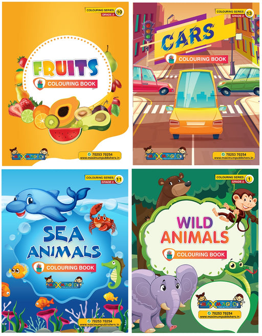 Coloring Book For Kids Fruits ,Cars,Sea Animals & Wild Animals (Combo Pack)