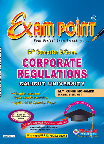 Exam Point Fourth Semester Corporate Regulations For Calicut University B.Com Students