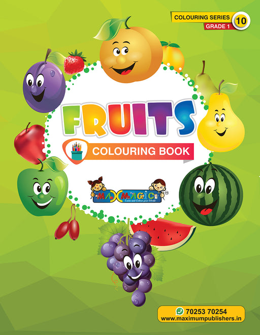 Fruits Colouring Book (with description) For PRE-KG, LKG ,UKG Kids