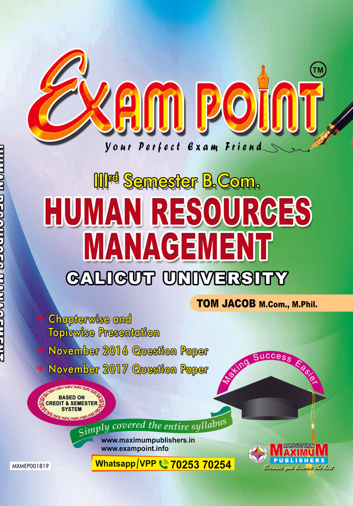 Exam Point Third Semester Human Resources Management for Calicut University B.Com Students