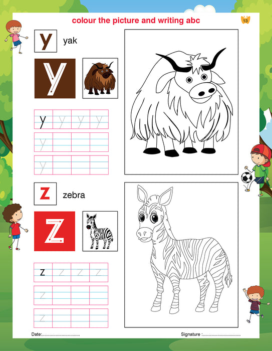 Writing And Colouring Book For Kids A to Z Small Letters