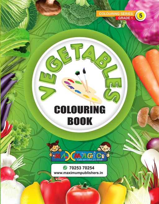 Vegetables  Colouring Book (with description) For PRE-KG, LKG ,UKG Kids