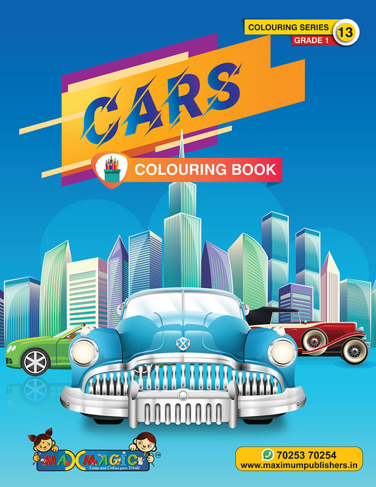 Cars Colouring Book (with description) For PRE-KG, LKG ,UKG Kids