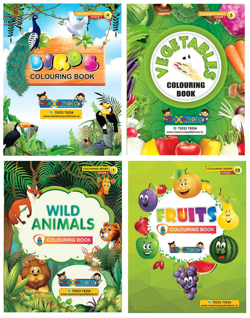 Coloring Book For Kids Birds , Vegetables ,Wild Animals ,Fruits (Combo Pack)