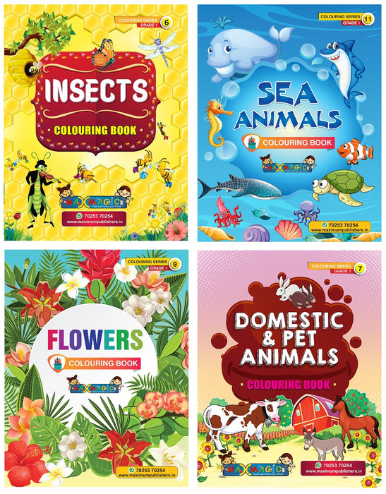 Coloring Book For Kids Insects , Sea Animals , Flowers , Domestic & Pet Animals (Combo Pack)
