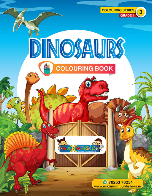 Dinosaurs  Colouring Book (with description) ForPRE-KG, LKG ,UKG Kids