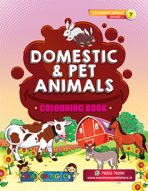 Domestic & Pet Animals Colouring Book (with description) For PRE-KG, LKG ,UKG Kids