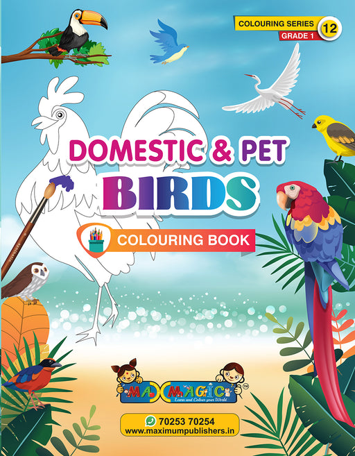 Domestic & Pet Birds Colouring Book (with description) For PRE-KG, LKG ,UKG Kids