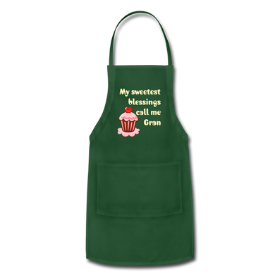 My Sweetest Blessings Call Me Gran Adjustable Apron - forest green