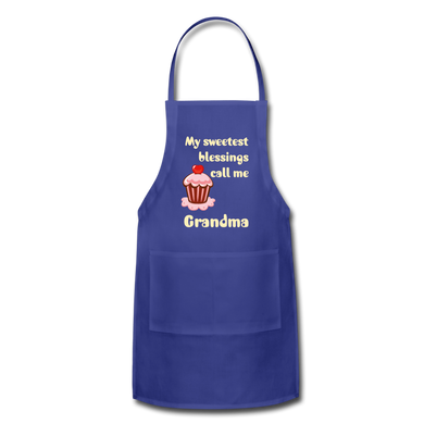 My Sweetest Blessings Adjustable Apron - royal blue