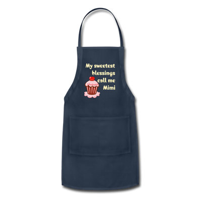 My Sweetest Blessings Call Me Mimi Adjustable Apron - navy